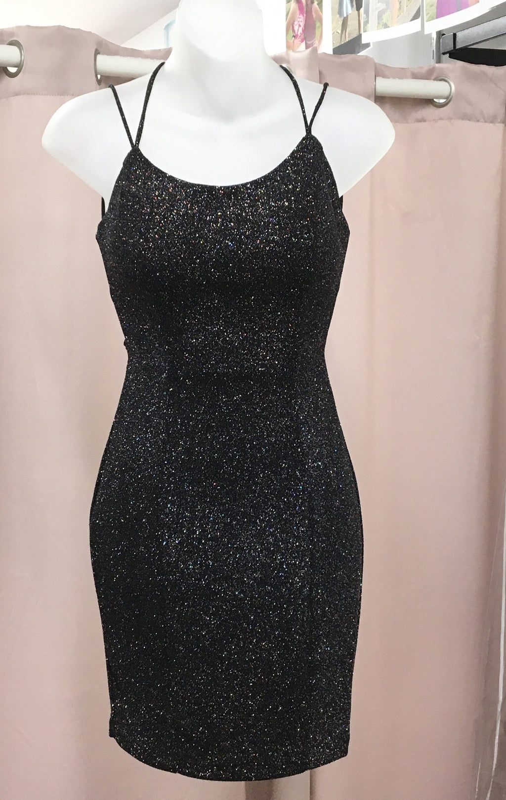 Black Shimmer Fitted Lace Up Back