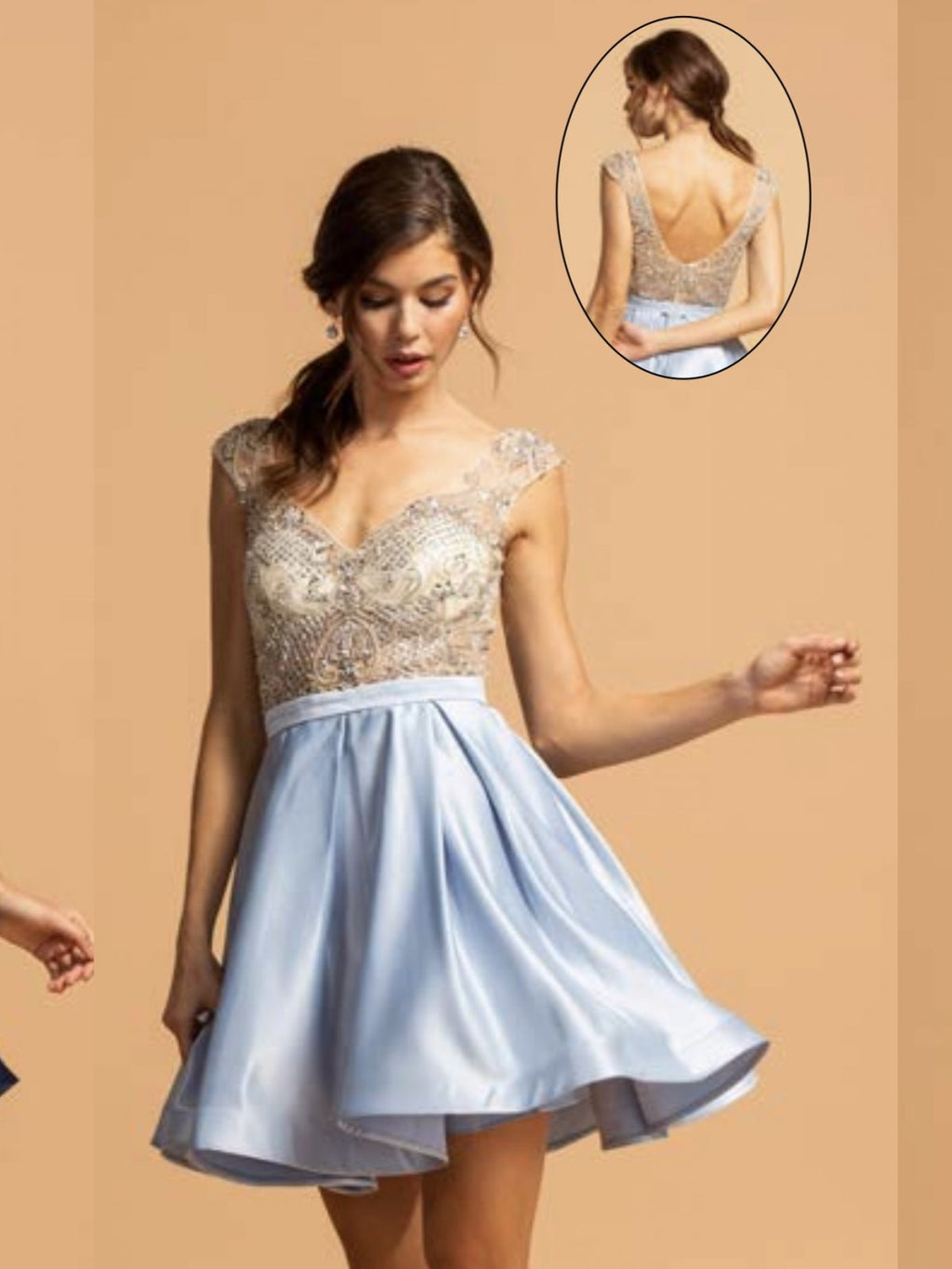 Illusion beaded top with sky blue satin skirt homecoming dress - Barbara's Boutique