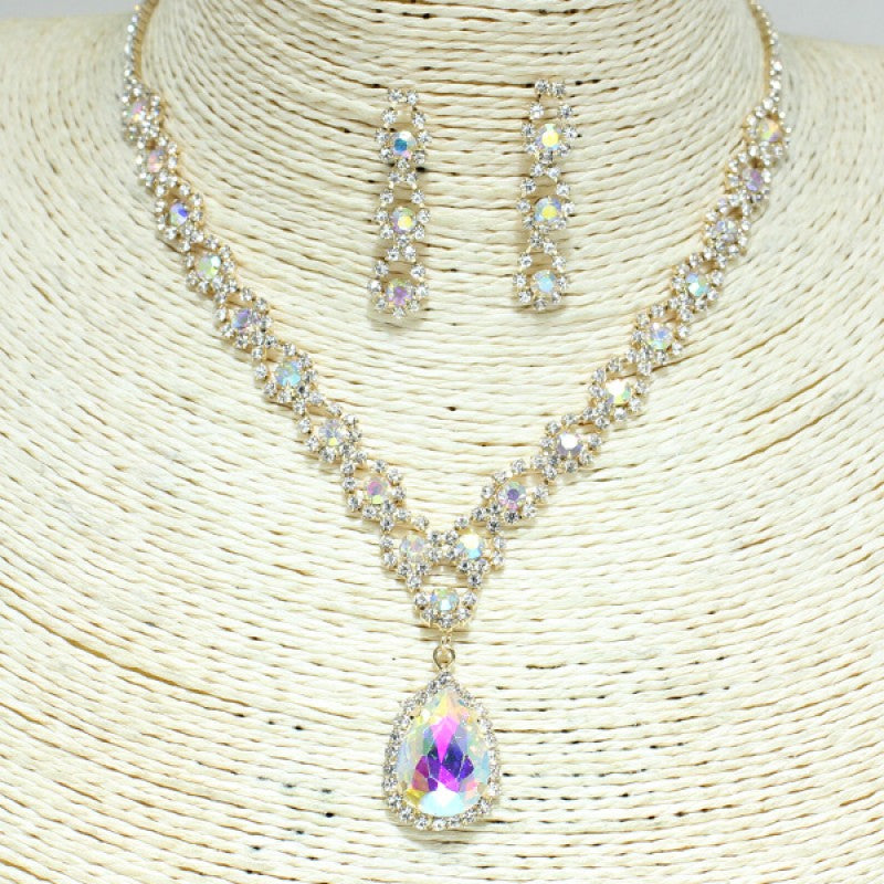 Rhinestone Necklace Set Gold Iridescent