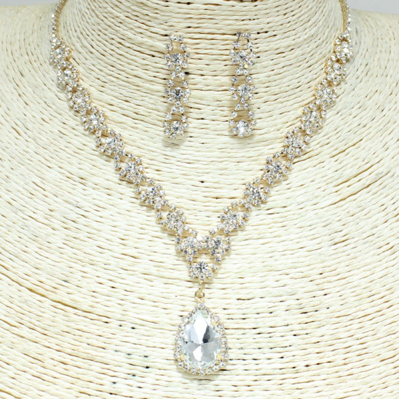 Gold Clear Rhinestone Necklace Set SR0259