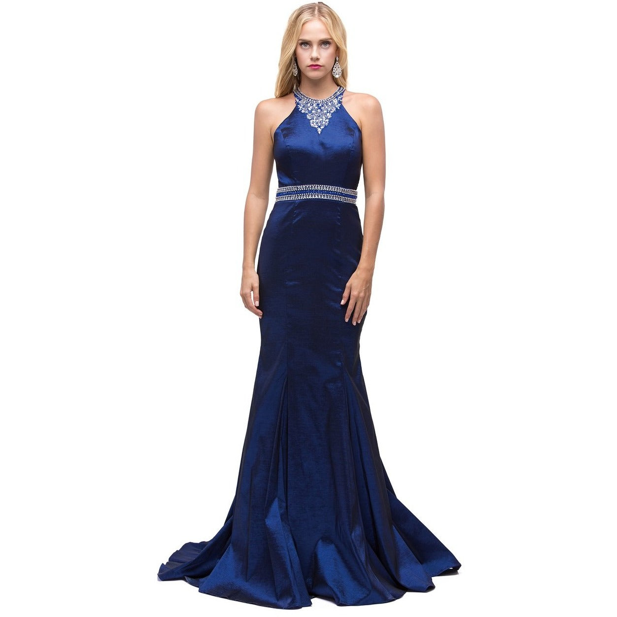 Navy Fit Flare Prom Dress With A Jeweled Neckline