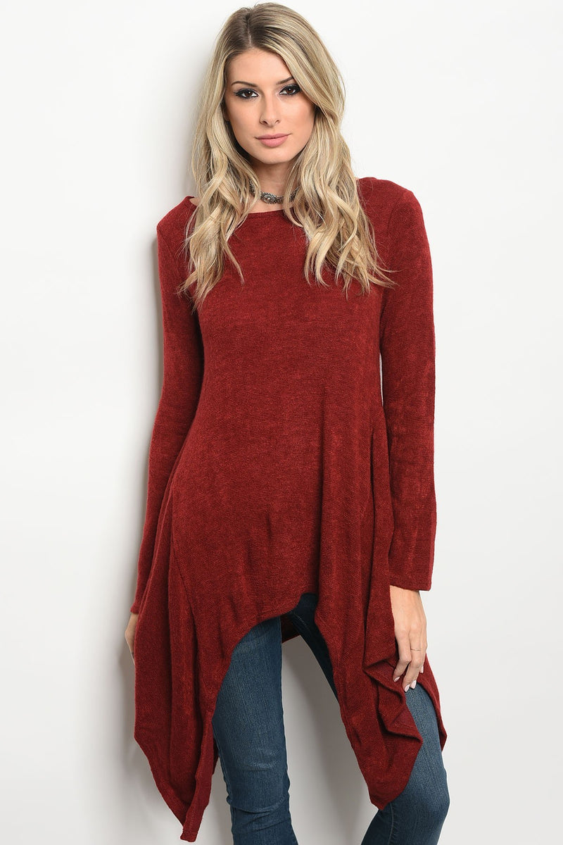 Burgundy Sweater With Handkerchief Hem