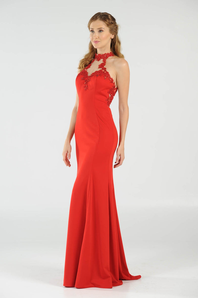 Red high neck embellished with lace appliques and stones Prom Dress