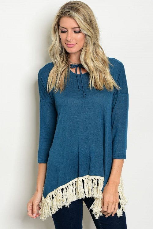 Teal Hoodie jersey Top With Fringe Hem
