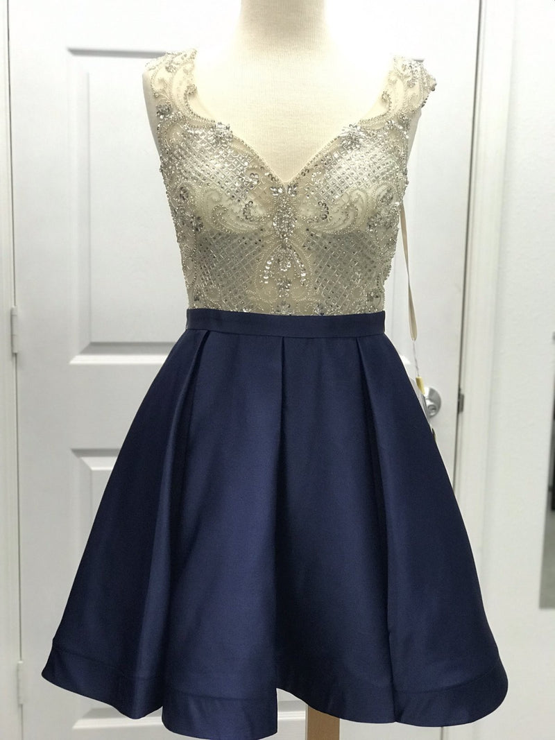 Illusion beaded top with Navy Satin skirt homecoming dress