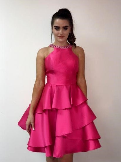 Satin Fuchsia Dress with Cut-Out Back Tiered Skirt