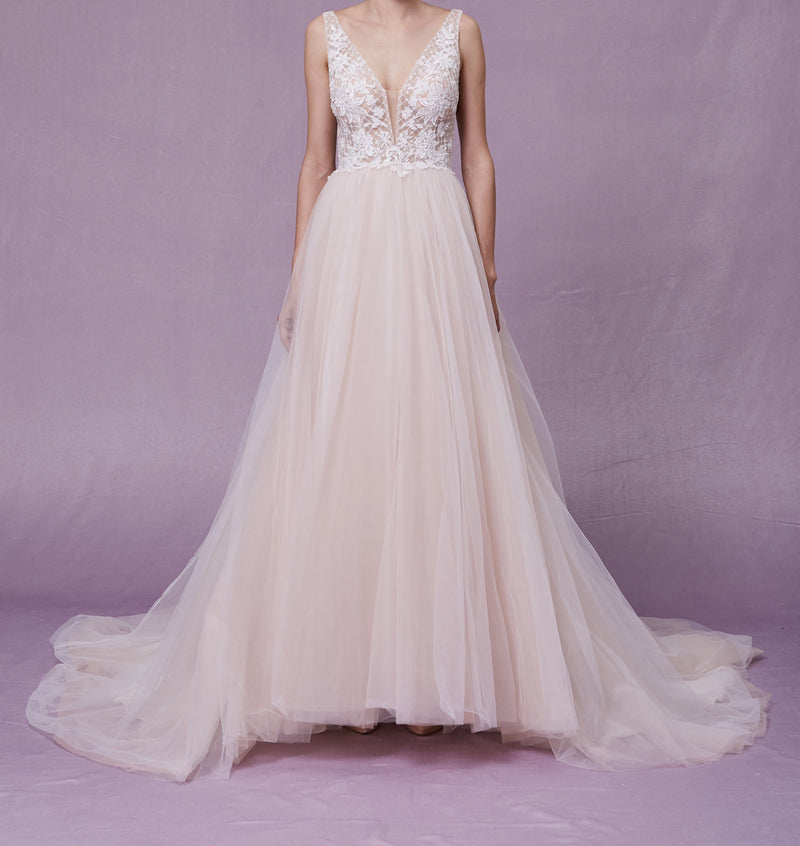 Beautiful Sheer Embellished Bodice With Light Champagne Full Skirt