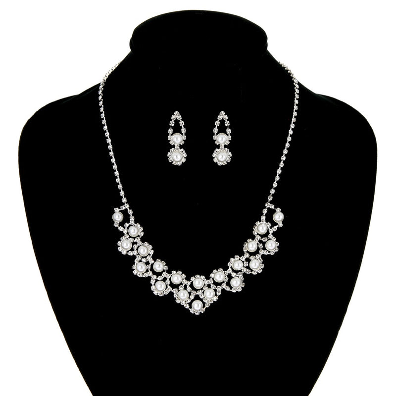Pearl & Rhinestone Necklace & Earring Set - Barbara's Boutique