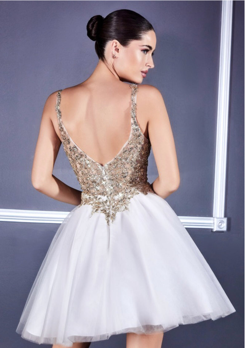 Champagne & Gold Embellished Lace Bodice Homecoming Dress