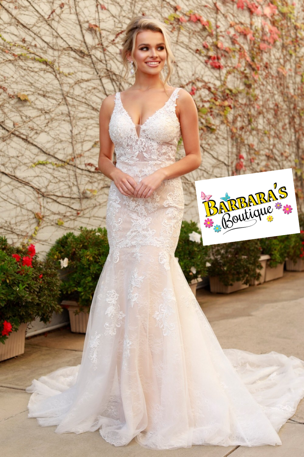 All Lace V-Neck Mermaid  Wedding Dress
