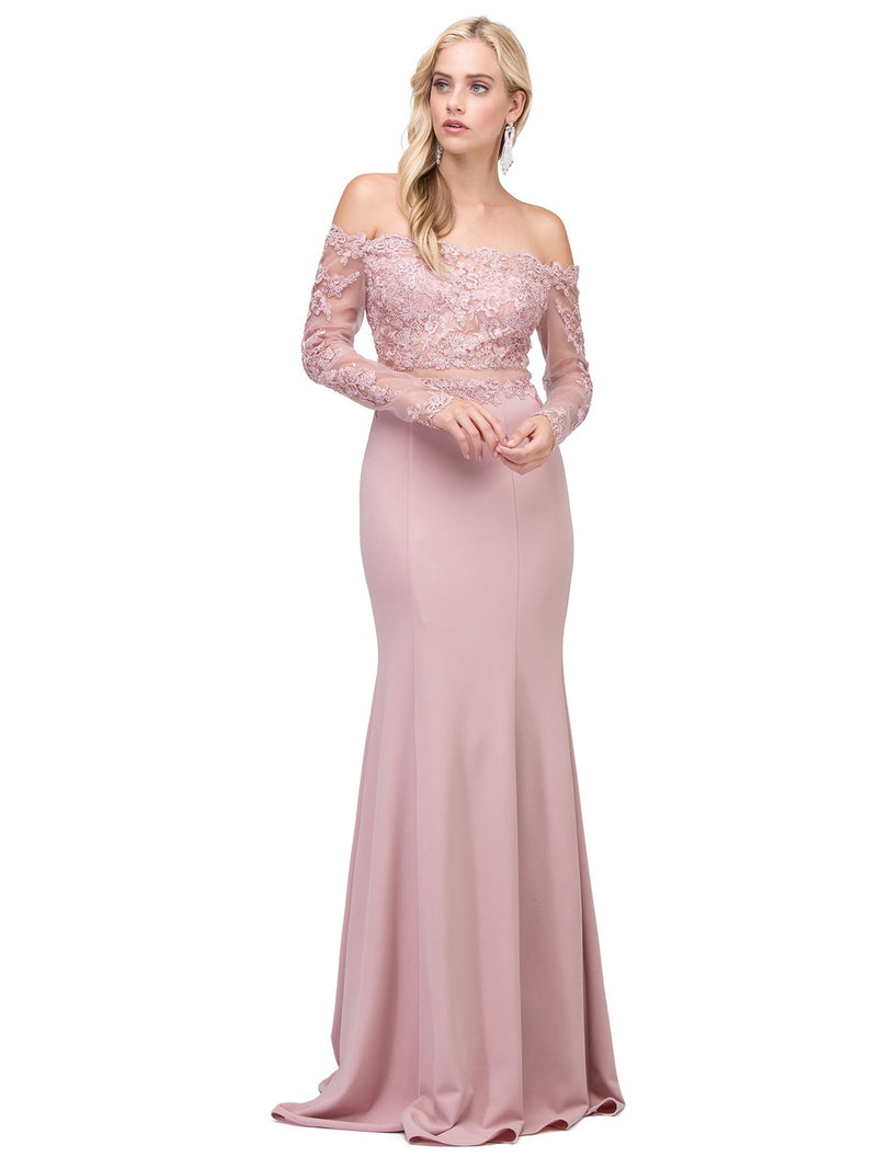 Dusty Pink Off The Shoulder Lace Prom Dress