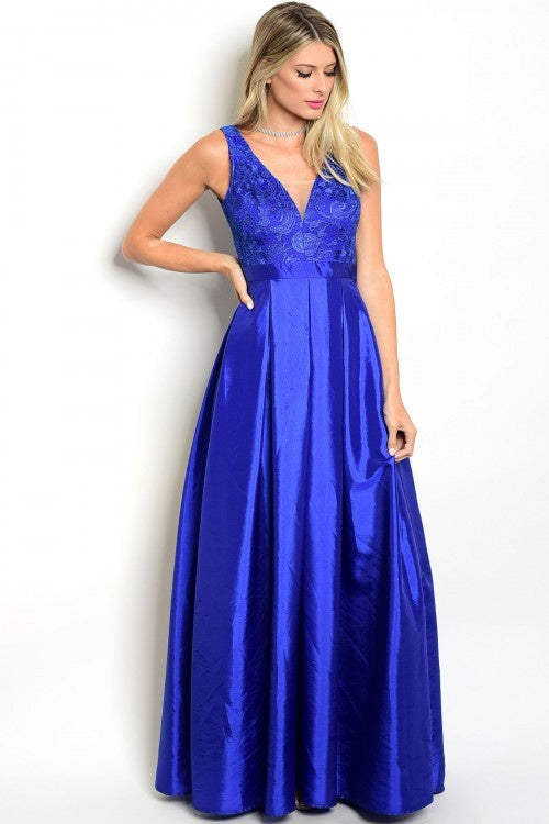 A-Line Taffeta Gown With Lace Bodice