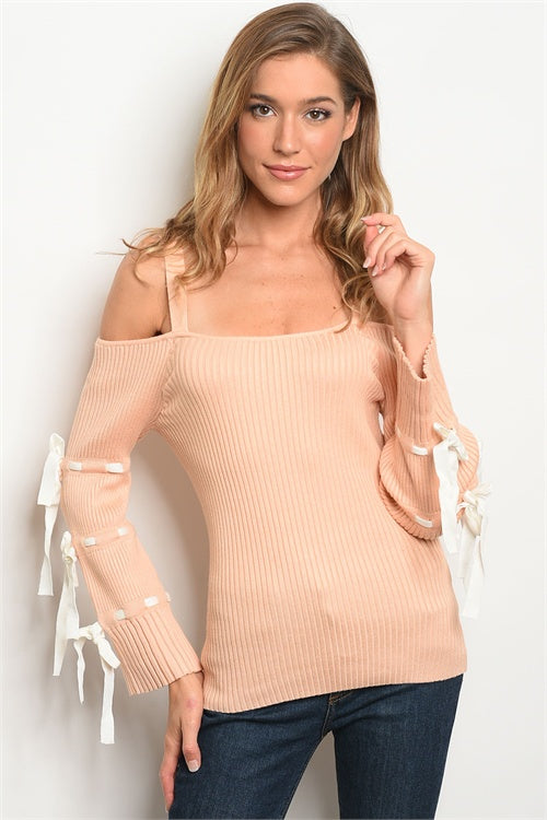 PEACH SWEATER WITH TIE SLEEVE DETAILS