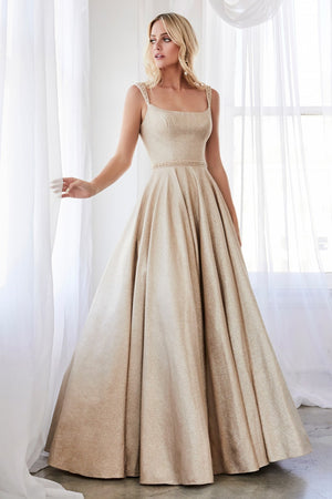 Champagne ball gown with glitter finish and beaded belt.