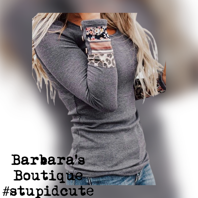 Grey Thermal Long Sleeve Top With  Cuff Accents