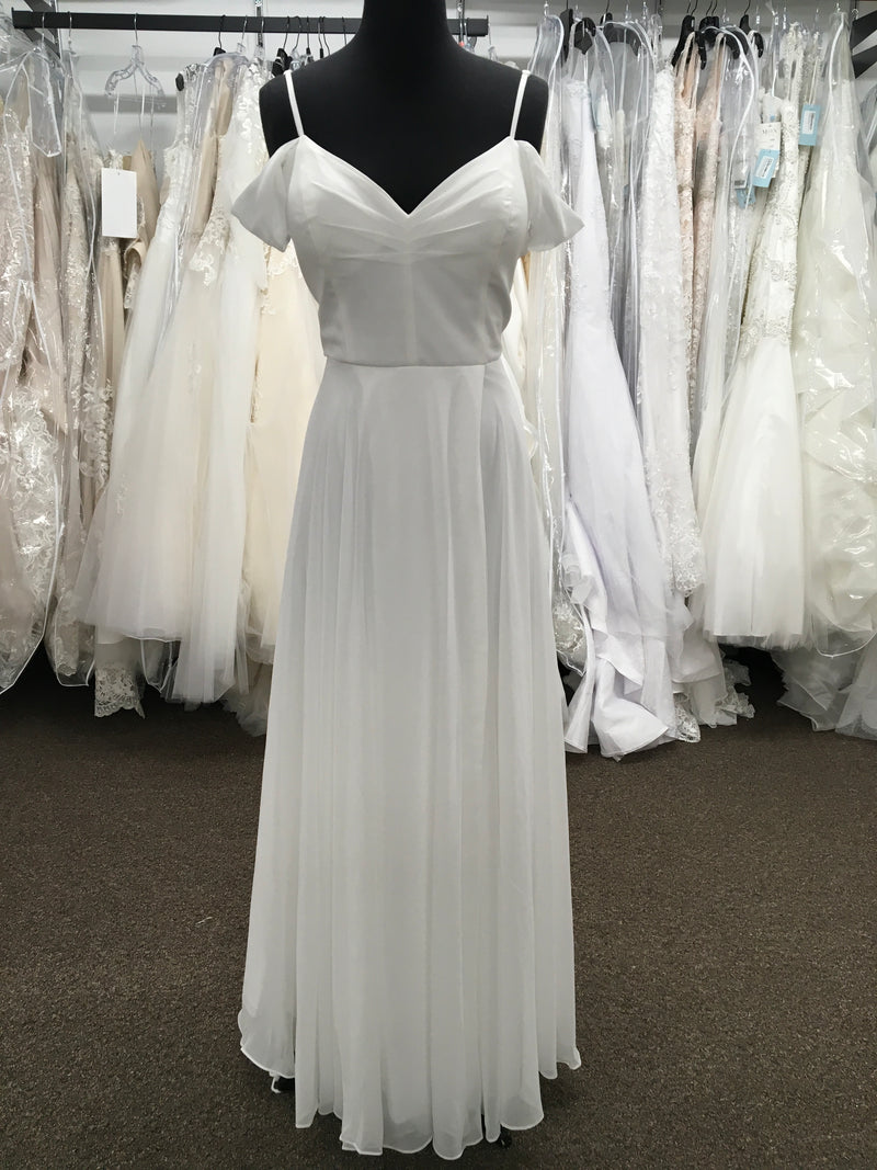 Cold Shoulder Wedding Gown With Lace Back And Slit