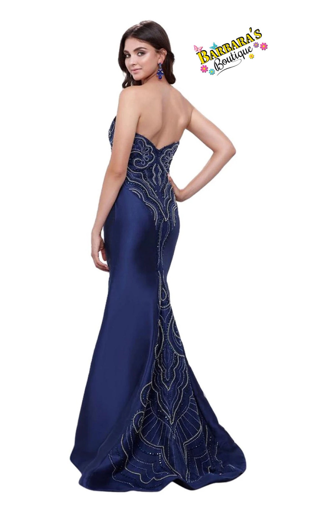 Strapless Navy Mermaid Dress Jewel Accents With Train