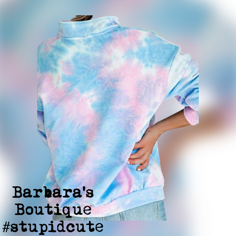 Light Blue Pullover Tie-Dye Long Sleeve