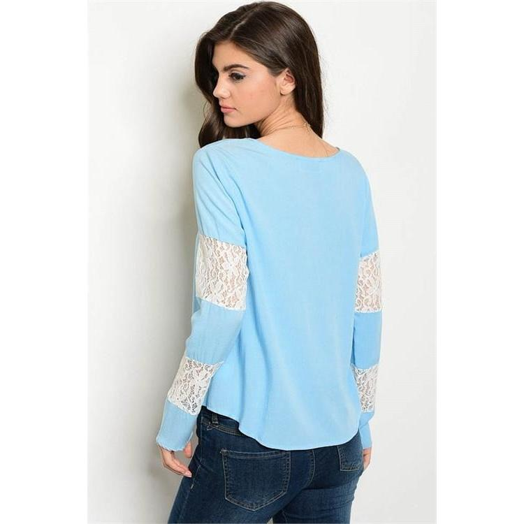 Long Sleeve Light Blue Top With Lace Detail - Barbara's Boutique