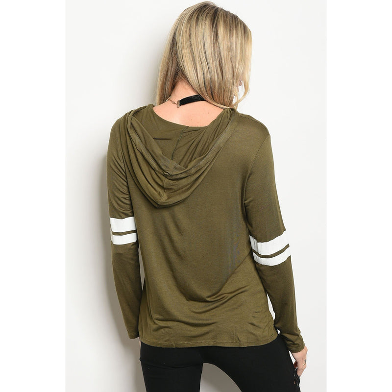 Olive Varsity Hooded Top - Barbara's Boutique