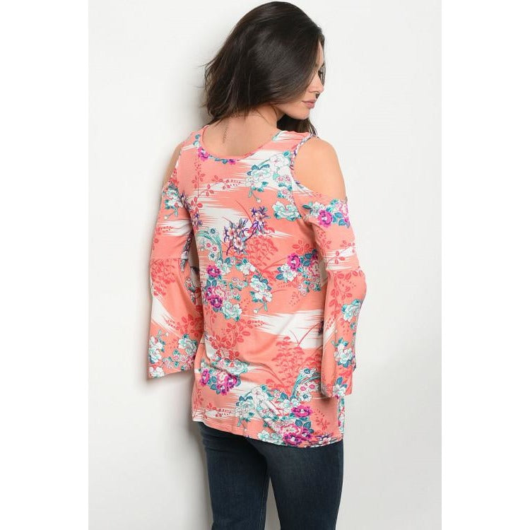 Coral Floral Top With Cold Shoulder - Barbara's Boutique