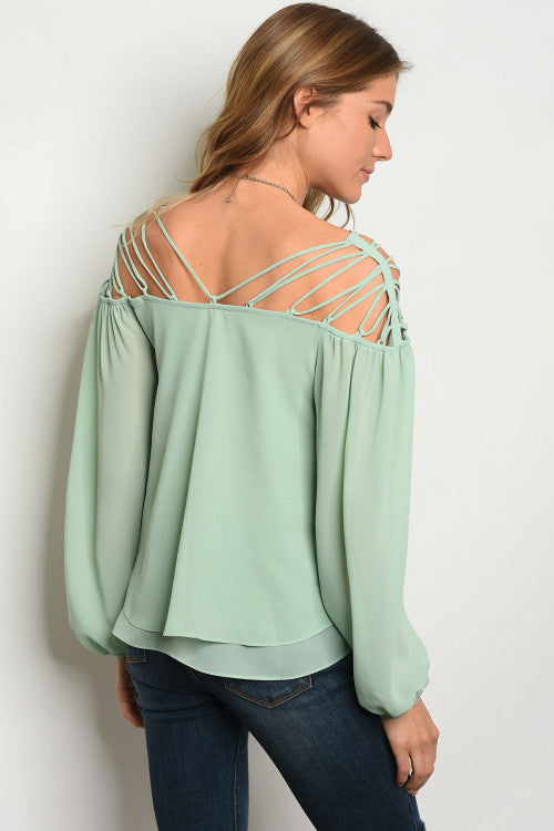 Sage Long Sleeve Caged Off The Shoulder Top - Barbara's Boutique