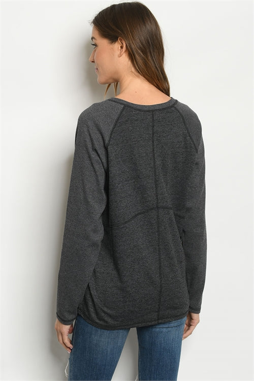 Charcoal Long Sleeve V-neck Sewed Stitch