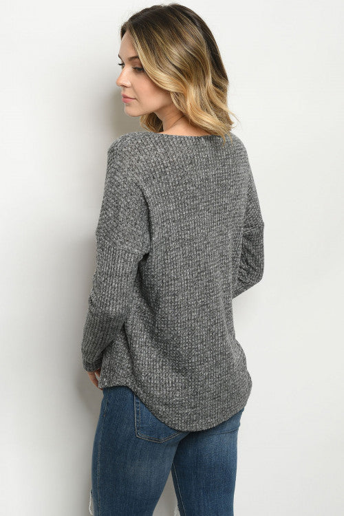 Charcoal Drop Shoulder V-neck Top