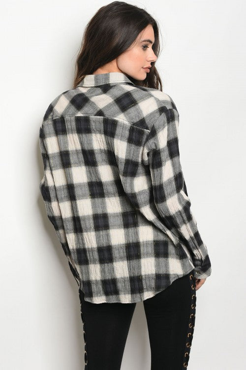Charcoal Ivory Plaid Top