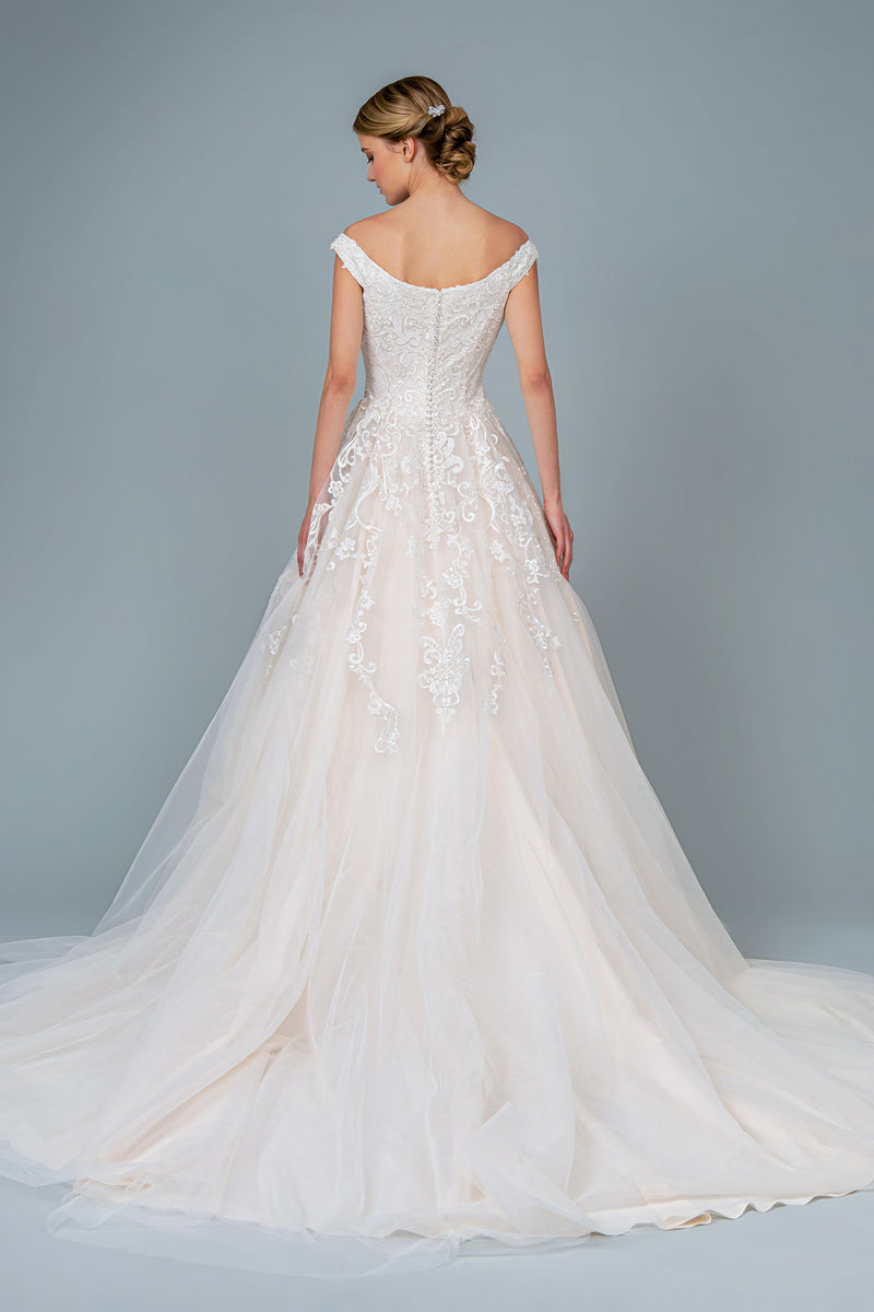 Embroidery Embellished Mesh A-Line Wedding Gown - Barbara's Boutique
