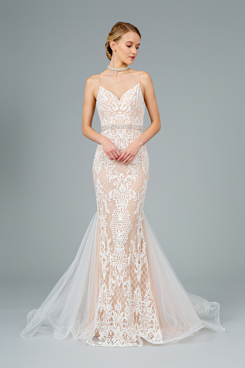 Spaghetti Strap With V-Neck Mermaid Long Wedding Dress