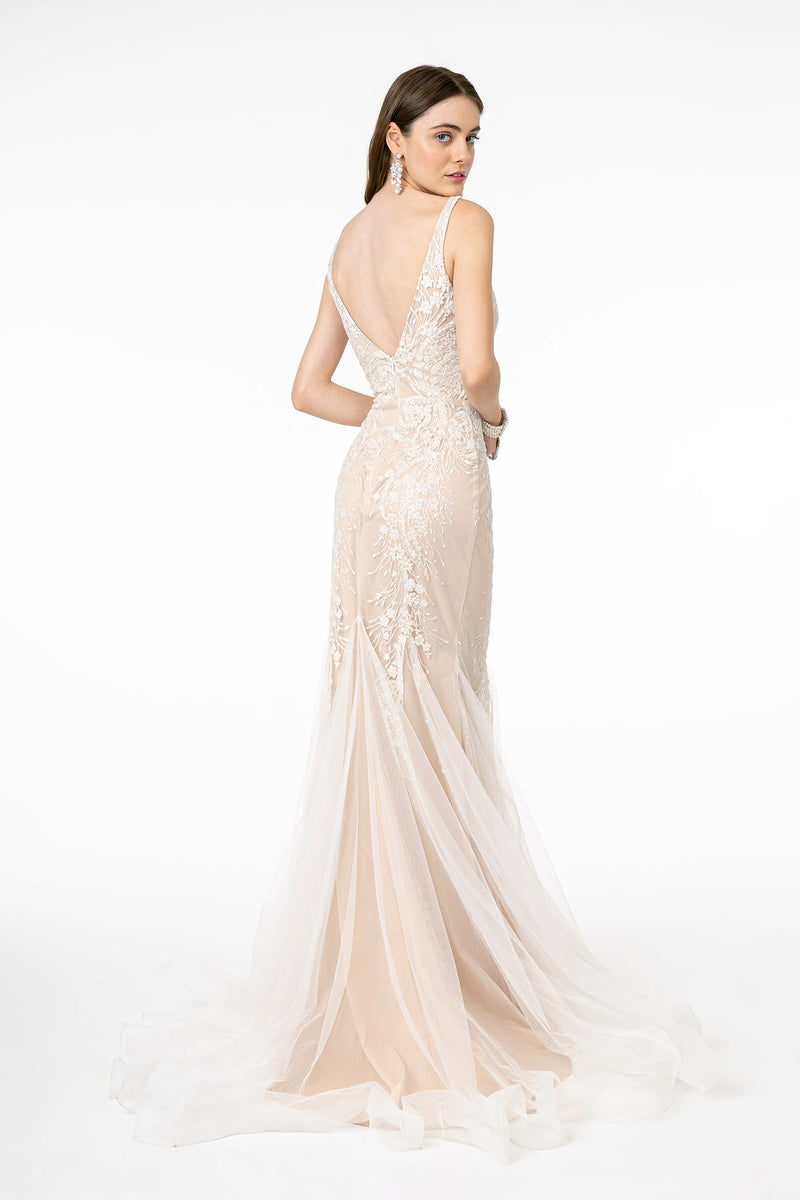Wedding Gown With Deep V-Neck & Back - Barbara's Boutique