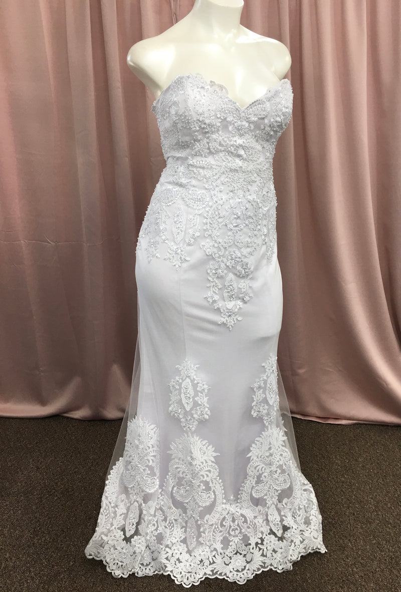 Strapless White Lace & Pearls Bridal Gown