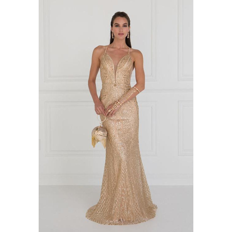 Glitter V-Neck Mermaid Long Prom Dress with Jeweled Embellished - Barbara's Boutique