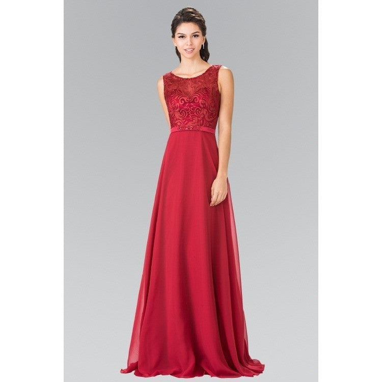 A Strapless Sweetheart Long Gown with a High Slit -Barbara's Boutique