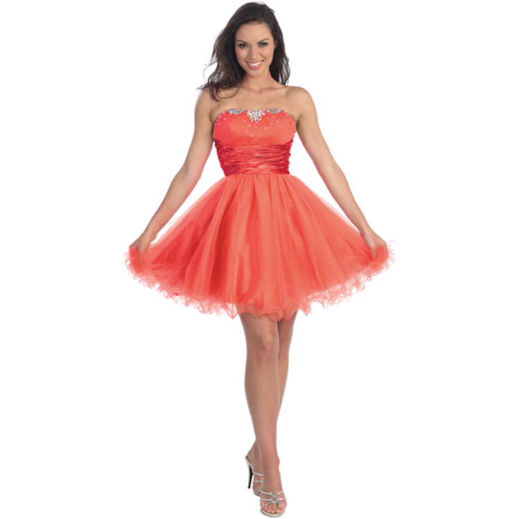 Strapless Sweetheart Beaded Tulle Short Dress -Barbara's Boutique