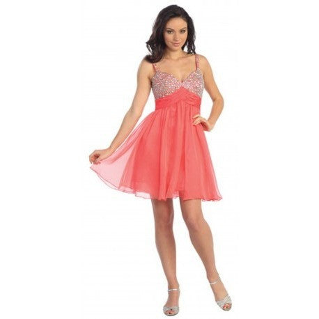 Sweetheart Neckline Chiffon Dress with Jeweled Embellished Neckline - Barbara's Boutique