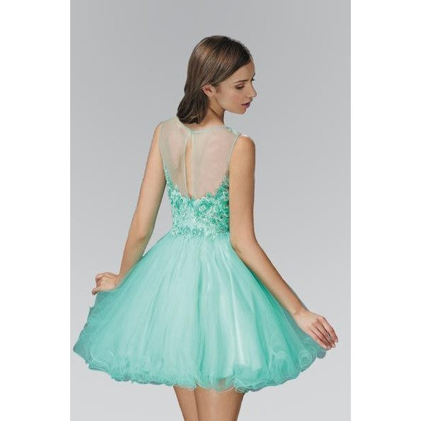 Rolled Hem Tulle Short Dress with Floral Lace Embellished Bodice - Barbara's Boutique