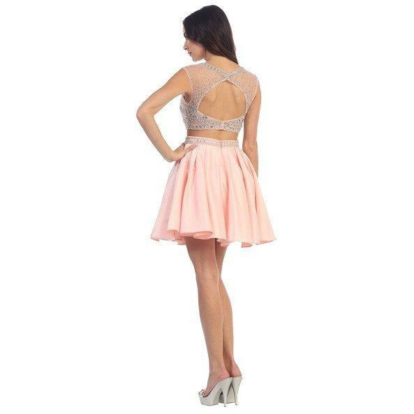 Two-Piece Homecoming Gown With Embellished Top - Barbara's Boutique