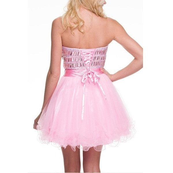 Strapless Sweetheart Jeweled Bodice with Corset Back -Barbara's Boutique