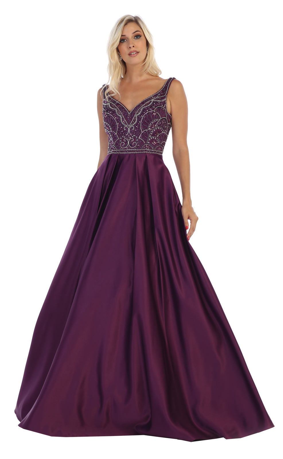 Eggplant Prom Dress With A Sweetheart Embellished Bodice With Full Skirt