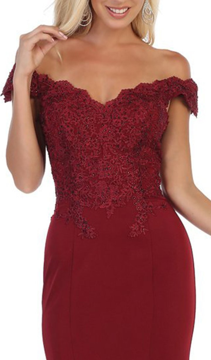 Burgundy Off The Shoulders Lace Top With Jersey Fitted Skirt Prom Dress
