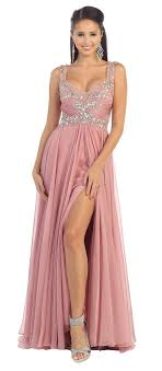 Dusty Rose Plus Sweetheart Neckline With Embellished Beading
