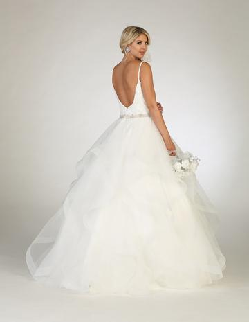 Lace Applique Bodice with V-Neck and Jeweled Belt with a Tiered Skirt