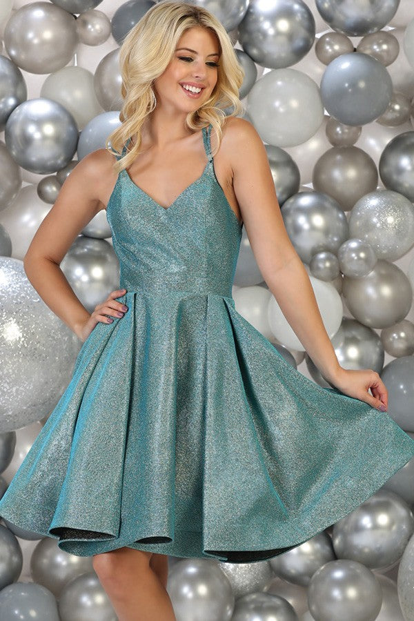 Turquoise Strappy Homecoming Dress - Barbara's Boutique