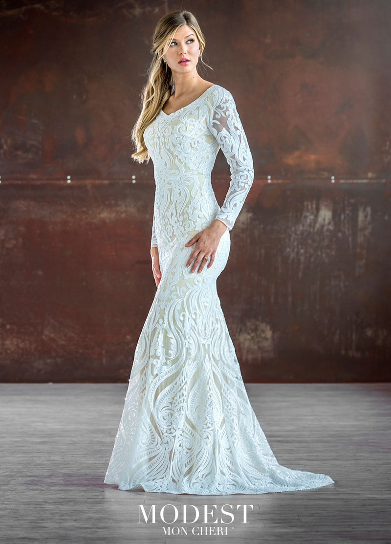 Sequin fit and flare gown with sequin accented illusion long sleeves