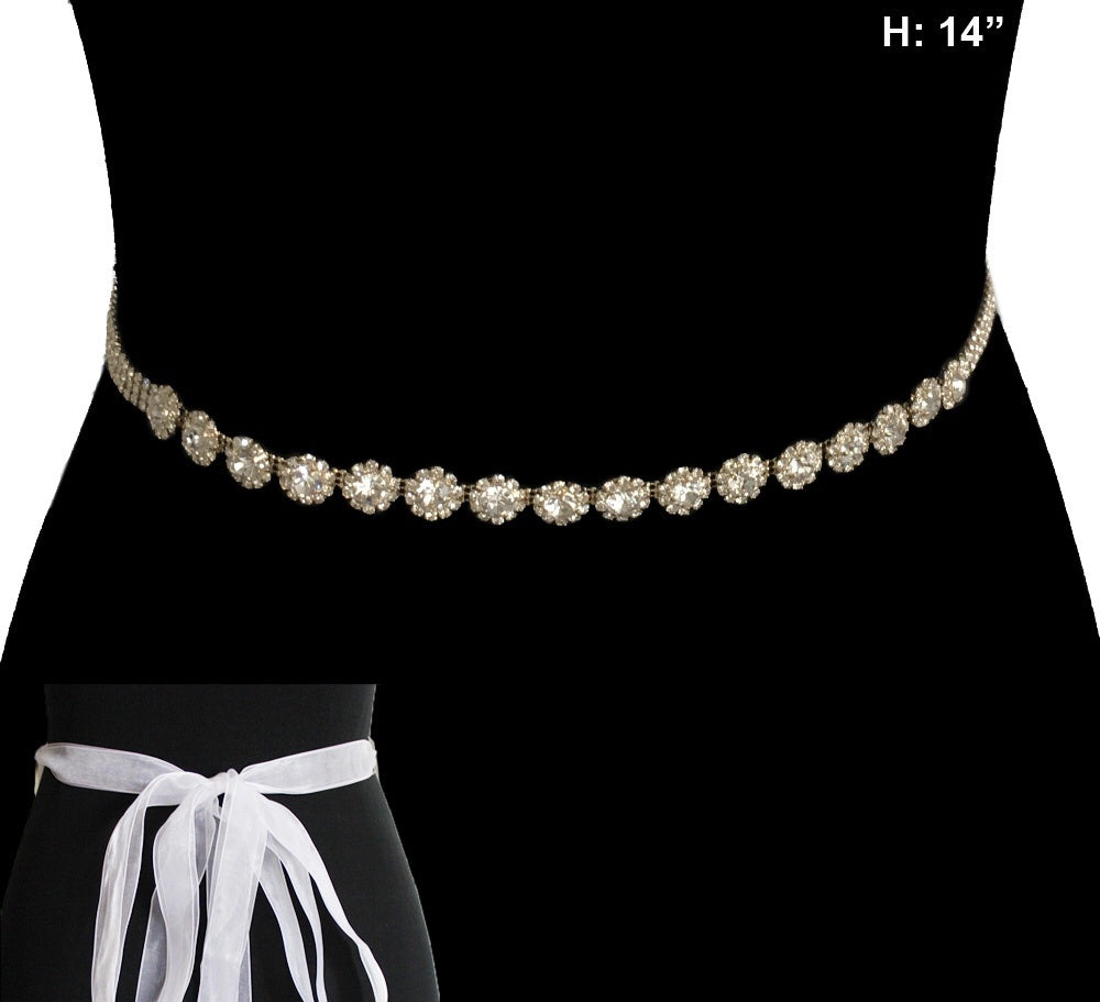 Gold Wedding Belt With Clear Rhinetonses