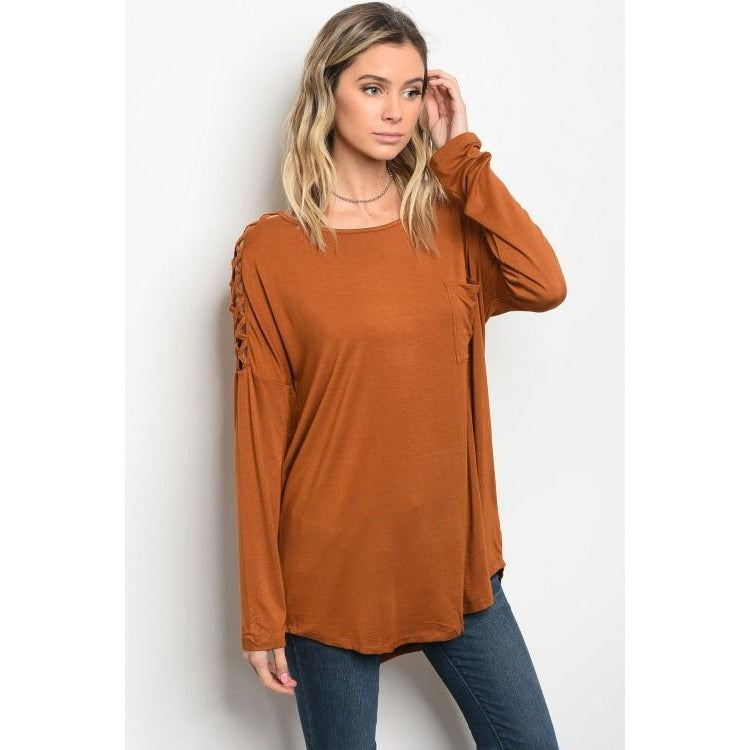 Camel Lace Up Long Sleeve Top - Barbara's Boutique