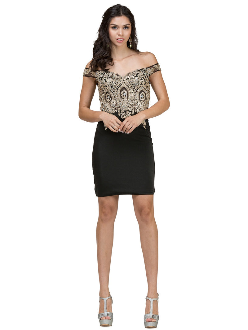Off the Shoulders Black Fitted Homecoming Dress