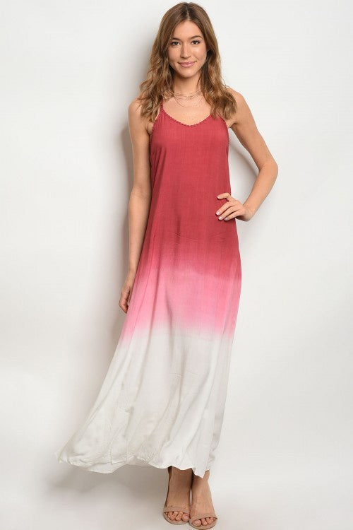 Wine & Ivory Ombre Maxi Dress
